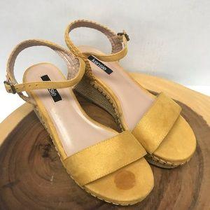 Kensie Mustard Yellow Stacked Wedge Timothy Sandal